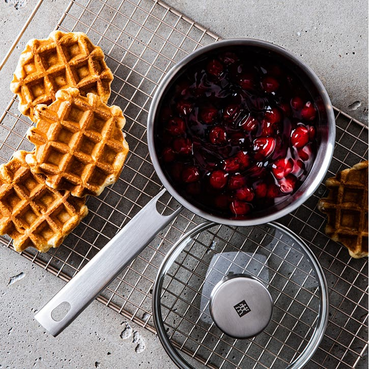 saute pan and lid, with 3 waffles
